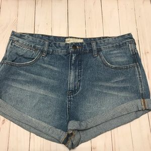Free People Medium Wash Folded Hem Shorts Size 29